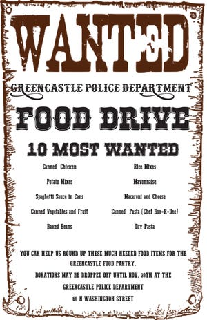 Greencastle Police Department '10 Most Wanted' food drive poster
