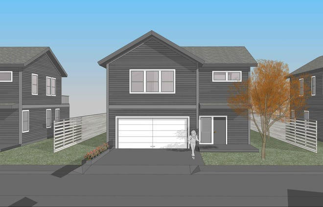 An architectural rendering of a home in proposed development of 40 single family homes near the Leather's Lane and Back River Road neighborhoods in Dover.