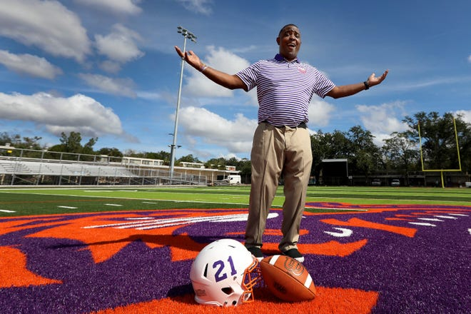 Edward Waters College football coach Greg Ruffin, standing on the new $4.3 million football field and stadium that will open in the spring of 2021, believes finally having an on-campus facility means better days are ahead for the Tigers' program.