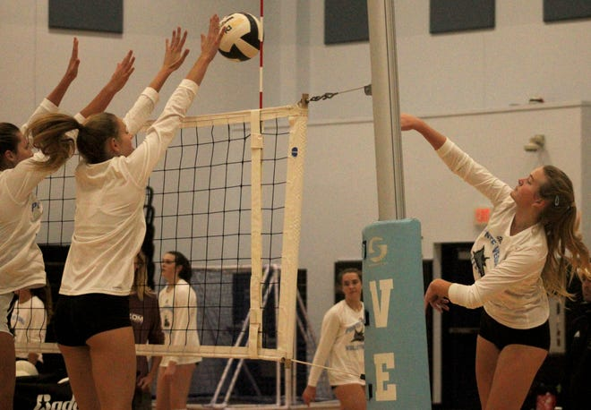Ponte Vedra volleyball players go through drills during practice on Monday before the FHSAA Class 5A high school volleyball championships.
