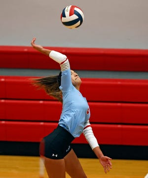 Monterey's Serena Garcia (6) hits the ball during the match against Lubbock-Cooper, Tuesday, Nov. 10, 2020, in Woodrow, Texas.