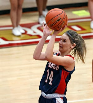 Plainview's Katy Long (14) shoots the ball during a nondistrict game Tuesday against Coronado at Coronado High School. Long finished with a game-high 30 points to lead the Lady Bulldogs to a 74-53 win.