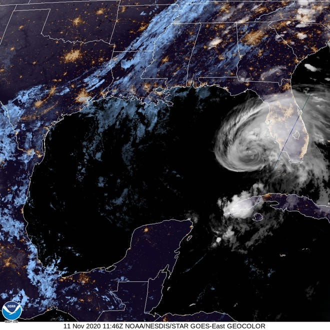 Overnight satellite image of Tropical Storm Eta as its path moved toward the Gulf Coast and a forecast landfall north of Tampa along the Nature Coast.