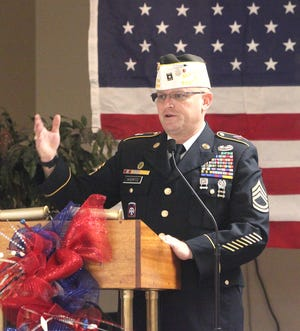 """Moberly VFW Post 2654 Commander Chris Wertz provided the keynote address Wednesday on the topic of """"Patriotism Counts"""" during  the Moberly Veteran's Day ceremony attended by about 40 people."""