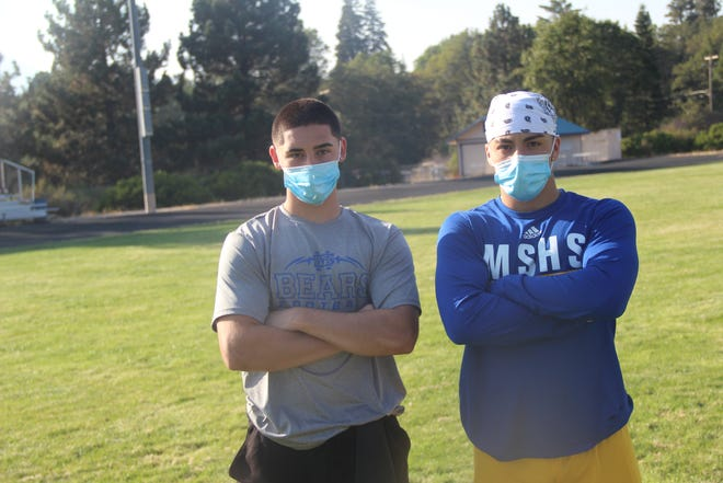 Mount Shasta Bears Marcus Delgado, left, and Gaspar Rodriguez are expected to form a formidable running back tandem for the Bears this season.