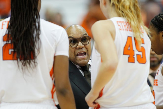 Quentin Hillsman, center, leads the Syracuse basketball team, which is ranked No. 23 in The Associated Press women's Top 25 poll.