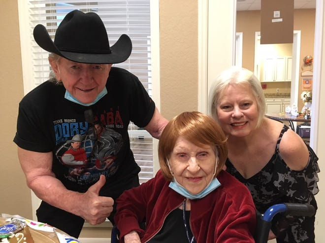 Mary Geiger is shown with Dory and Marti Funk