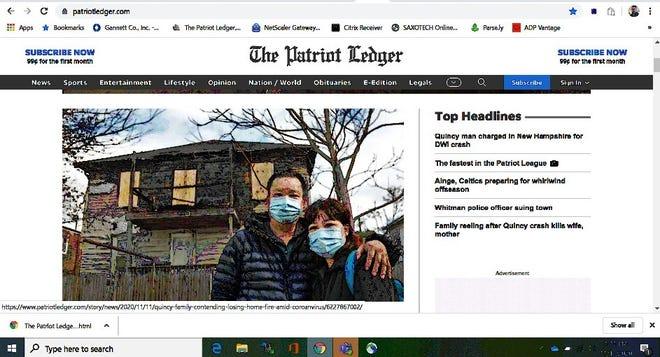 A screenshot shows the redesigned homepage of patriotledger.com.