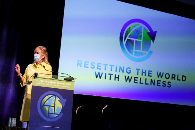 "Susie Ellis, chair and CEO of the Global Wellness Summit talking about this year's summit theme ""Resetting the World with Wellness."" The summit was held at The Breakers Nov. 8 through today."