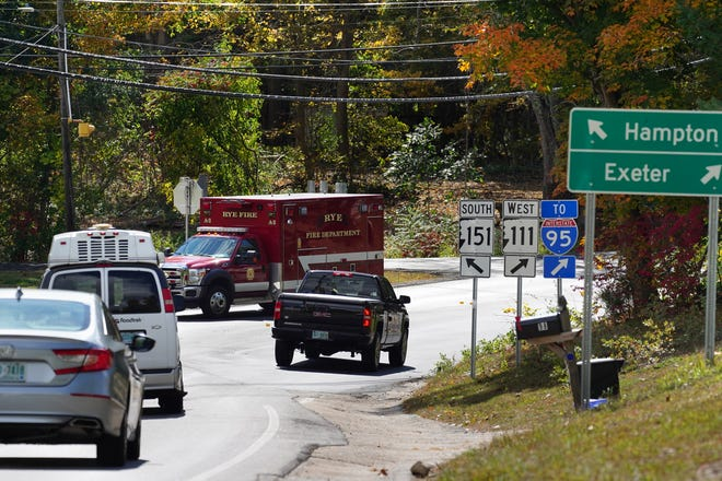 Traffic at the busy intersection along routes 111 and 151 in North Hampton.