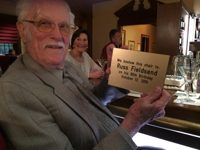 Russell Fieldsend, who died last month, was presented with a plaque for his regular seat at Epoch on his 90th birthday.