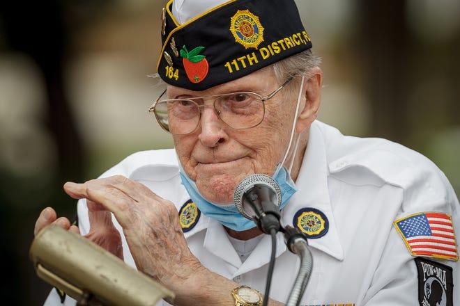 Tom Kaiser speaks during a Veteran's Day ceremony at Thomas Kaiser Veteran's Memorial Park in Boynton Beach, Fla., November 11, 2020.