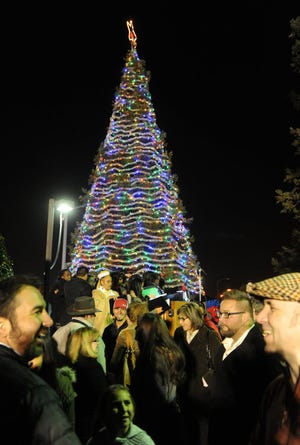 Typically, large crowds like this one from seven years ago gather in front of San Joaquin Delta College for the annual Hospice of San Joaquin Tree of Lights ceremony. This year, however, the ceremony will be virtual due to COVID-19 pandemic restrictions on social gathering.