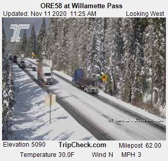 Willamette Pass on Highway 58 saw a decent dump of snow Tuesday night and is expected to see more this weekend.