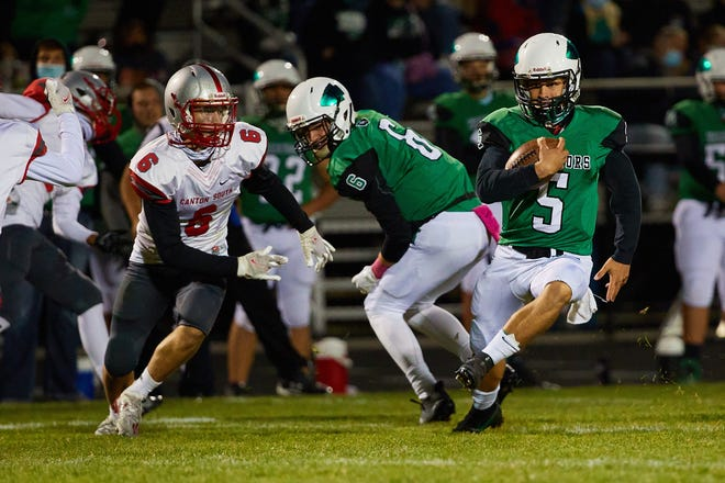 West Branch QB Brock Hillyer gains yards during his team's win over Canton South in Week 6 of the 2020 high school football season.