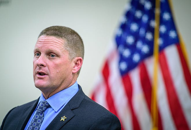 Former St. Augustine Beach Police Chief Robert Hardwick speaks at a presentation at the St. Johns County Sheriff's Office in St. Augustine on Monday. Hardwick, who was elected in the general election to replace current Sheriff David Shoar, now works for the Sheriff's Office to help with his transition before he takes office in January.