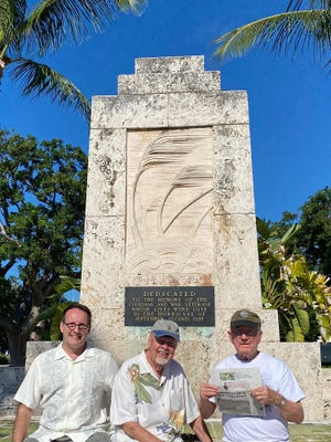 Tom Caswell, Carle Elkins, Patrick Ellis, and Chad Reed (taking the photo) went to the Keys to celebrate birthdays with friends along the way. Here they stopped to take a pic with the memorial in Islamorada dedicated to victims of the Sept. 2, 1935, hurricane.