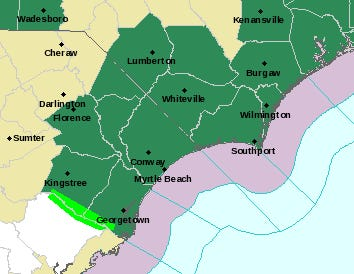 A Flash flood watch has been issued for the Wilmington area
