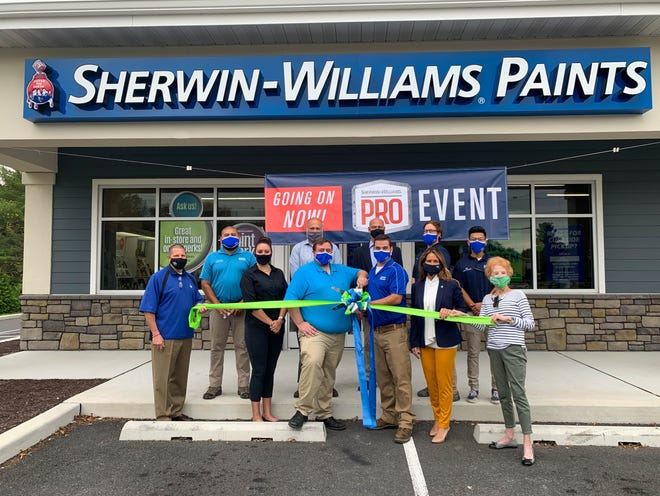 The Bethany-Fenwick Area Chamber of Commerce hosted a ribbon-cutting ceremony celebrating the new Ocean View location of Sherwin Williams Paint Store, Suite 1 and 2, 89 Atlantic Ave. From left, back row, Giovanni Gutierrez, Bill Forbes, Max Hutsell, Drew Hill and Will Gonzalez-Gomez; front row, Fred Thomas, Melissa Hollins, Joe DiPasquale, Ryan Alexander, Doreen Angelo and Marilyn Panagopoulos.