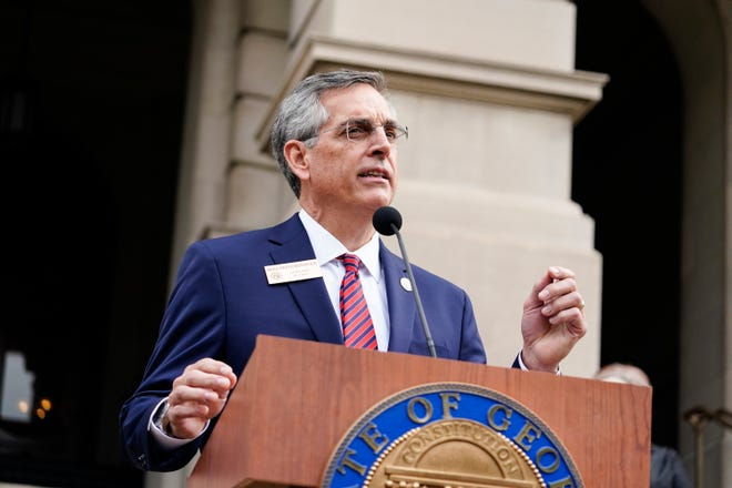 Georgia Secretary of State Brad Raffensperger speaks during a news conference on Wednesday in Atlanta.