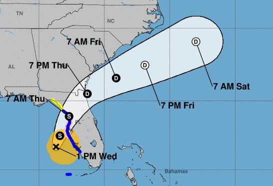 Eta's track has been adjusted to the south, pushing the system well out to sea by the weekend.