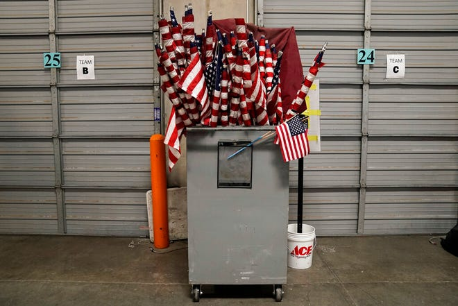 American flags used on Election Day are stored at the Clark County Election Department in North Las Vegas, Nev., on, Nov. 6.