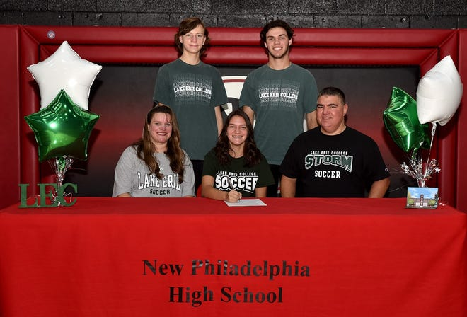 New Philadelphia High School girls' soccer defender Corinne Shimek signs her letter of intent to continue as a member of the Lake Erie Storm women's soccer team in the fall of 2021.  LEC is a member of the NCAA Division II and the Great Midwest Athletic Conference (GMAC) located in Painesville, Ohio. Shimek is a four year varsity letterman and was team captain her senior year. She received East District Honorable Mention 2019 and East District First Team 2020. She will play in the All-Star Game Saturday, November 14, 2020. Shimek is seated between her mother Kelly and father John. Standing are brothers Derek and Connor.