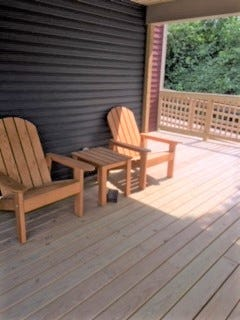Outdoor seating is part of the back deck at River Haven Women's Residential Treatment in Dover.
