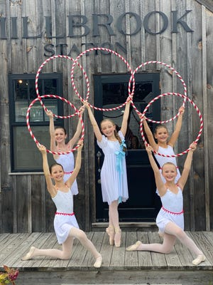 Candy Canes and Clara on location at Millbrook Farms in Duxbury. Top row, from left: Khloe Amonte, of Kingston; Julia Wessler, of Rockland; and Lilian Chamberlain, of Hingham. Bottom row, from left: Isabelle Ferland and Julia Fine, both of Duxbury.