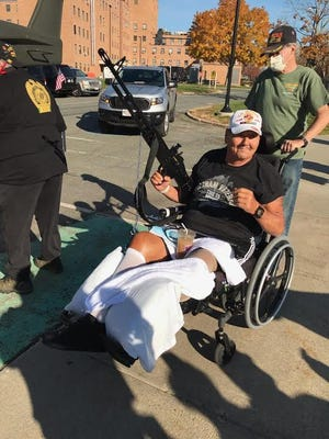 Veterans living on the campus of the Brockton Veterans Administration Hospital were recently able to enjoy the Veterans Day Rolling Rally organized by Middleborough's Monty's 1320 LLC.