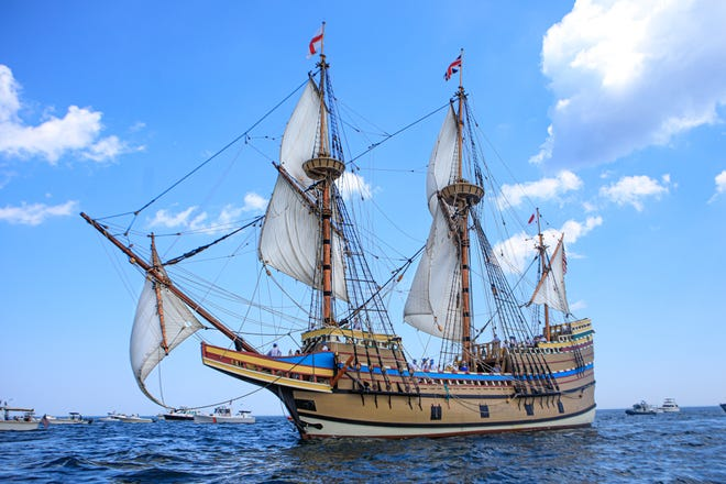The Mayflower II was a beautiful sight as she sailed back to Plymouth Harbor after almost three years away and millions of dollars of repair.  [Wicked Local Photo/Denise Maccaferri]