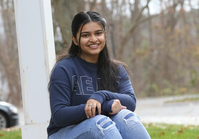 Burlington High School senior Sara Shaikh, 17, worked to get a Town Meeting warrant article passed, creating a school diversity director position. She was working at home Nov. 11, 2020.