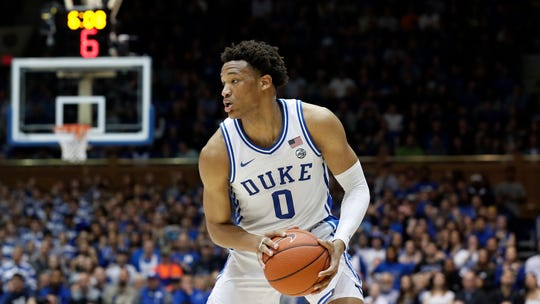Duke forward Wendell Moore Jr. (0) looks to pass against North Carolina during a game March 7 in Durham, N.C.