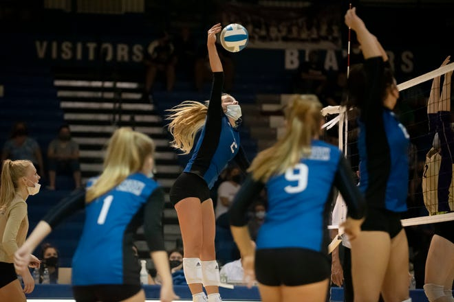 Harper Creek sophomore Payton Rice (2) spikes the ball during the Division 2 regional semifinal against South Haven on Tuesday, Nov. 10, 2020 at Harper Creek High School in Battle Creek, Mich. Harper Creek defeated South Haven 3-2.