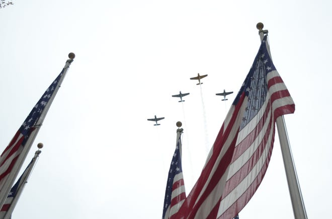 The Hooligans Flight Team made two passes over Fort Custer National Cemetery.