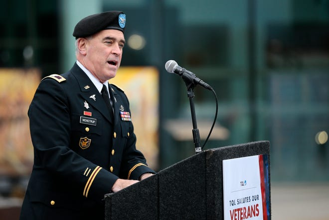 U.S. Rep. Brad Wenstrup gives a speech during a Veterans Day ceremony at the TQL headquarters in Union Township, Ohio, on Wednesday, Nov. 11, 2020.