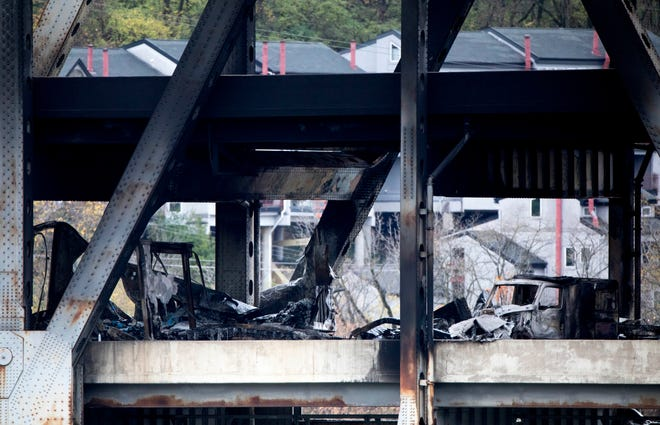 Covington Police and Covington Fire work an accident and fire scene on the Brent Spence Bridge on Nov. 11, 2020, in Covington, Ky. The Brent Spence Bridge is closed and will be shut down both ways indefinitely. According to the EMA, a box truck with potassium hydroxide caught fire this morning. Flames shot up to the upper deck.