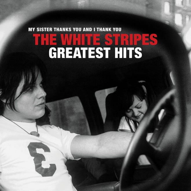 """Cover of """"The White Stripes Greatest Hits,"""" due Dec. 4, 2020. Image of Jack White and Meg White photographed by Pieter M. van Hattem."""