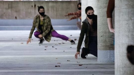 """Hyperdistanced,"" a piece for the 2020 University of Iowa Dance Gala, was filmed in a parking garage to allow for social distancing during the COVID-19 pandemic. The piece was choreographed and co-directed by Stephanie Miracle."