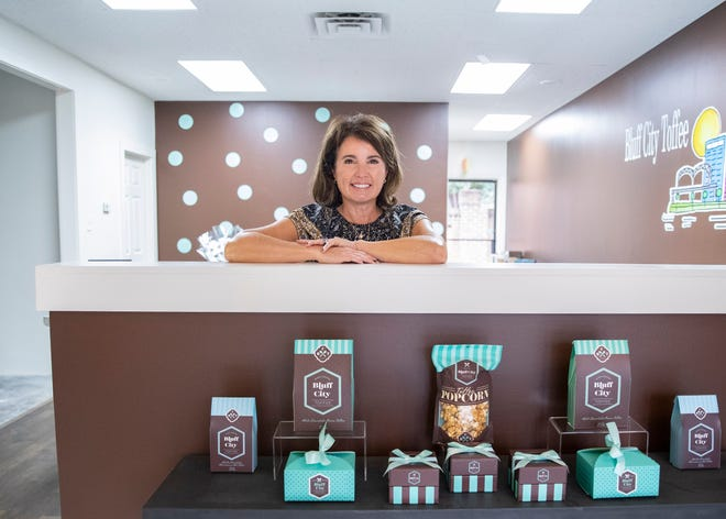 Bluff City Toffee owner Stephanie Upshaw is inside her retail shop in Memphis, Tenn., on Tuesday, November 10, 2020.