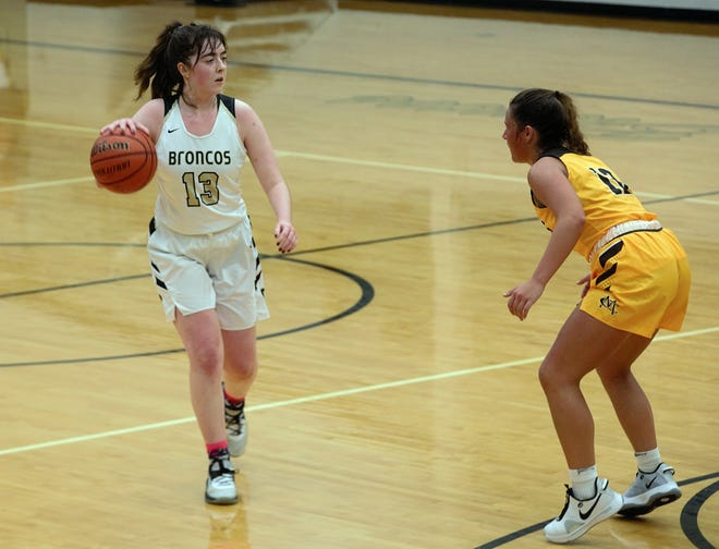 Daleville senior Malia Walker dribbles the ball down court during a game against Monroe Central at Daleville High School on Nov. 10, 2020. Daleville won 40-35.