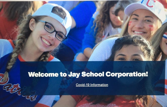 COVID-19 messaging is ubiquitous, including on the home page of the Jay Schools website.