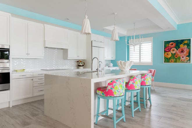 "Romanza designer Melissa Allen transformed a Moorings Park resident's new 3,380-square foot Spring floor plan into an updated version of a classic ""Old Naples"" beach house design."