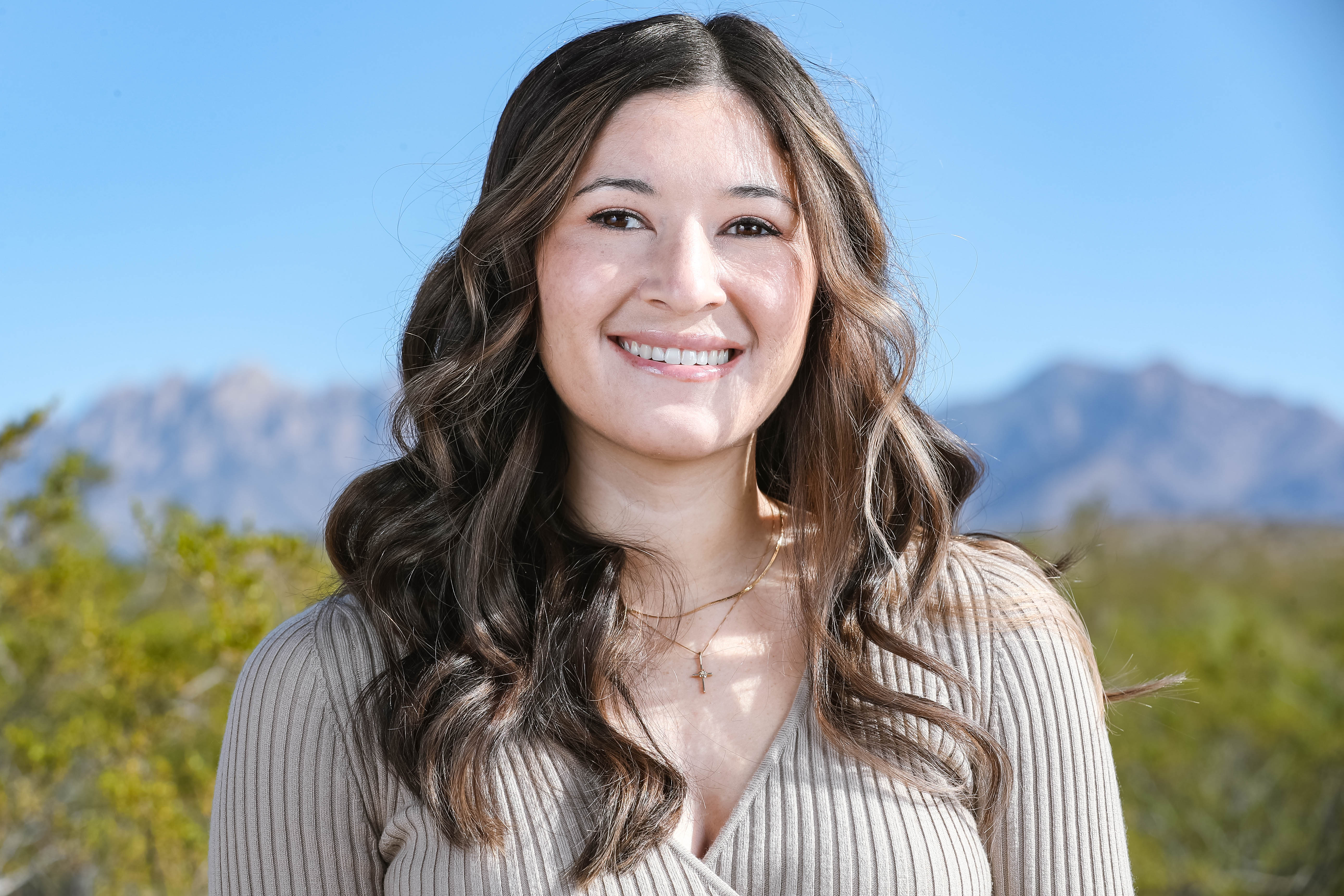 Julia Palomino, of Las Cruces, once considered law school before pursuing a career in nursing. She's pictured here in the backyard of her home in Las Alturas on Wednesday, Nov. 11, 2020.
