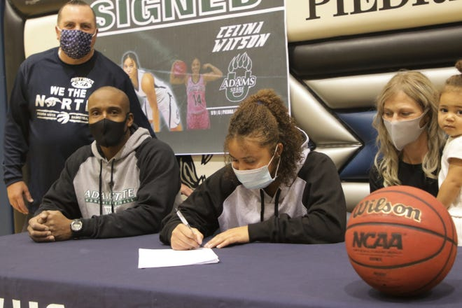Piedra Vista's Celina Watson officially signs her National Letter of Intent on Wednesday, Nov. 11, 2020 to continue her basketball career at NCAA Division II Adams State University.