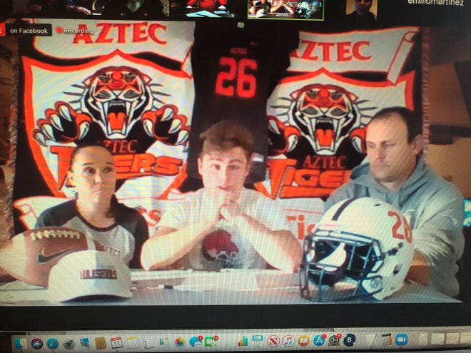 Aztec's Hunter Riddick signed his National Letter is Intent via Zoom on Wednesday, Nov. 11, 2020 to continue his football career at Bethel College.