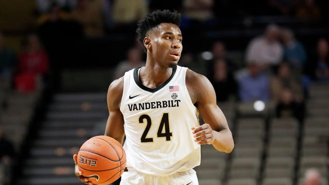 Vanderbilt forward Aaron Nesmith plays against Southeastern Louisiana in the first half of a November 2019 game in Nashville, Tenn.