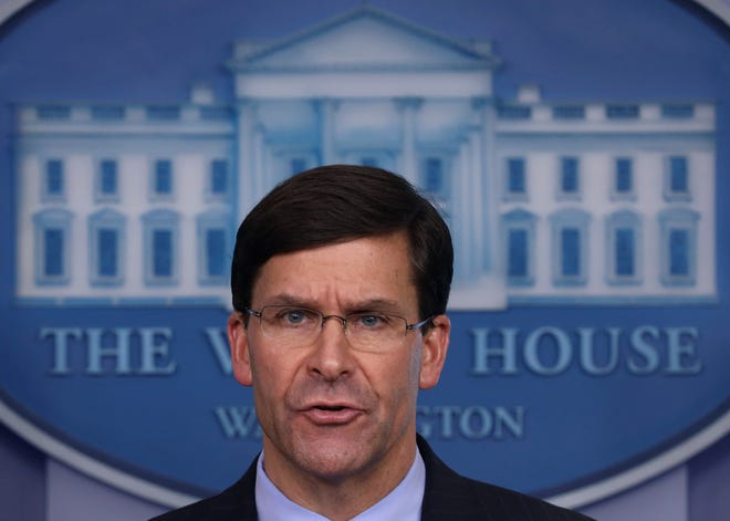 Secretary of Defense Mark Esper at the White House in Washington, D.C., on April 1, 2020. (Win McNamee/Getty Images/TNS)