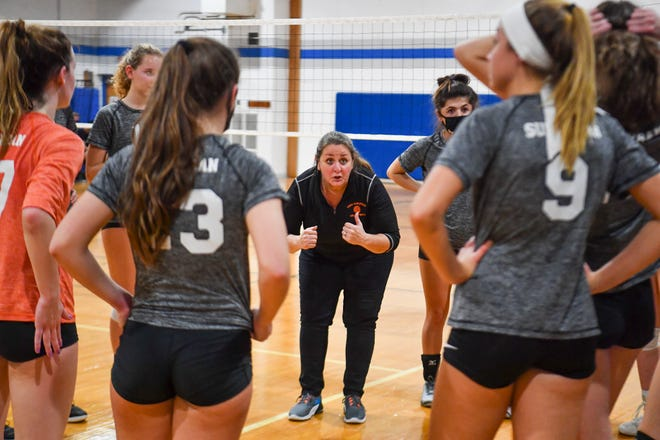 Head coach Sonia Guyer talks to her York Suburban team during the District 3 playoffs. The Trojans need just two more wins to claim a PIAA Class 3-A state title. John A. Pavoncello photo