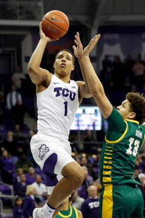 Desmond Bane plays for TCU vs. George Mason men's basketball at Schollmaier Arena in Fort Worth, Texas on Dec. 30, 2019.